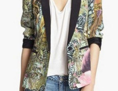 Animal Print Pintuck Blazer Choies.com bester Fashion-Online-Shop Großbritannien Europa