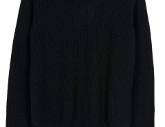 Black Asymmetric Hem Long Sleeve Knitted Sweater Choies.com bester Fashion-Online-Shop Großbritannien Europa