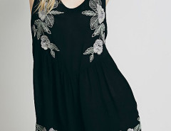 Black Embroidery Open Back Sleeveless Romper Playsuit Choies.com bester Fashion-Online-Shop Großbritannien Europa