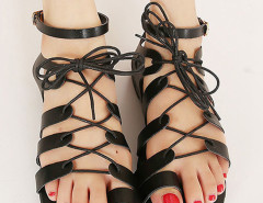 Black Lace-up PU Flat Gladiator Sandals Choies.com bester Fashion-Online-Shop Großbritannien Europa