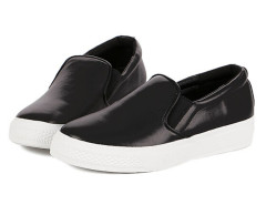 Black PU Slip-on Loafers Choies.com bester Fashion-Online-Shop Großbritannien Europa