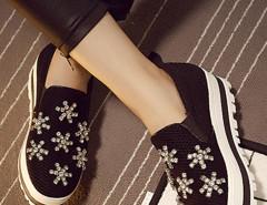 Black Rhinestone Mesh Platform Slip-on Sneakers Choies.com bester Fashion-Online-Shop Großbritannien Europa