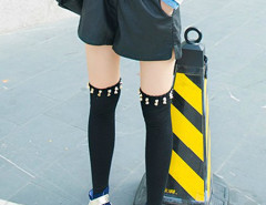 Black Rivet Stockings Choies.com bester Fashion-Online-Shop Großbritannien Europa