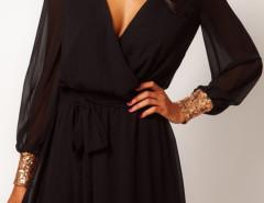 Black Sequined Cuff Tie Waist Two-layer Wrap Dress Choies.com bester Fashion-Online-Shop Großbritannien Europa