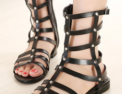 Black Strappy Studs Flat Gladiator Sandals Choies.com bester Fashion-Online-Shop Großbritannien Europa