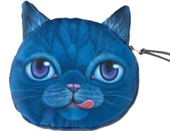 Blue Big Eye Tongue Chartreux Cat Coin Purse Choies.com bester Fashion-Online-Shop Großbritannien Europa