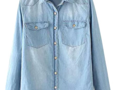 Blue Chest Pocket Washed Shirt with Long Sleeve Choies.com bester Fashion-Online-Shop Großbritannien Europa