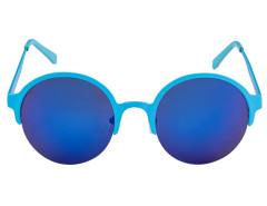 Blue Half Frame Round Mirror Lens Sunglasses Choies.com bester Fashion-Online-Shop Großbritannien Europa