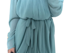 Blue Off Shoulder Panel Flounce Hem Ruched Dress Choies.com bester Fashion-Online-Shop Großbritannien Europa