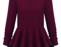 Burgundy Color Block Peplum Blouse Choies.com bester Fashion-Online-Shop Großbritannien Europa