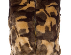 Camo Faux Fur Waistcoat with Knitted Rib Details Choies.com bester Fashion-Online-Shop Großbritannien Europa