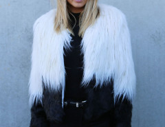 Color Block Long Sleeve Shaggy Faux Fur Coat Choies.com bester Fashion-Online-Shop Großbritannien Europa