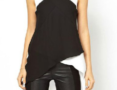Contrast Color Cross High Low Blouse Choies.com bester Fashion-Online-Shop Großbritannien Europa