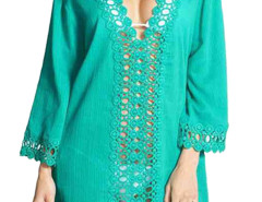 Cyan Crochet V Neck Semi-sheer Poncho Cover Up Blouse Choies.com bester Fashion-Online-Shop Großbritannien Europa