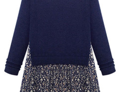 Dark Blue Floral Print Loose Dress With Long Sleeve Choies.com bester Fashion-Online-Shop Großbritannien Europa