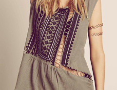 Gray Boho Cut Out Bead Embroidery Sleeveless Dress-top Choies.com bester Fashion-Online-Shop Großbritannien Europa