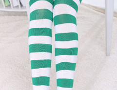 Green And White Stripe Print Over the Knee Socks Choies.com bester Fashion-Online-Shop Großbritannien Europa