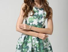 Green Floral High Waist Sleeveless Skater Dress Choies.com bester Fashion-Online-Shop Großbritannien Europa