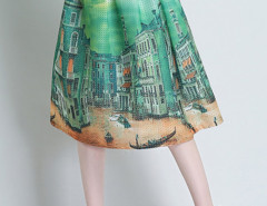Green Landscape Print Pleats Skirt Choies.com bester Fashion-Online-Shop Großbritannien Europa
