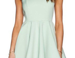Green V Back Sleeveless Skater Dress Choies.com bester Fashion-Online-Shop Großbritannien Europa