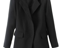 Lapel Pocket Longline Blazer in Black Choies.com bester Fashion-Online-Shop Großbritannien Europa