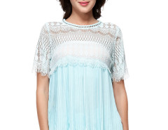 Light Blue Eyelash Lace Panel Ruffle Pleat Blouse Choies.com bester Fashion-Online-Shop Großbritannien Europa