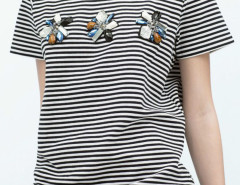 Monochrome Stripe Gemstone Detail Short Sleeve T-shirt Choies.com bester Fashion-Online-Shop Großbritannien Europa