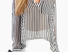 Monochrome Striped Semi-sheer Shirt Choies.com bester Fashion-Online-Shop Großbritannien Europa