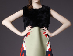 Multicolor Faux Fur Paneled Sleeveless Dress Choies.com bester Fashion-Online-Shop Großbritannien Europa