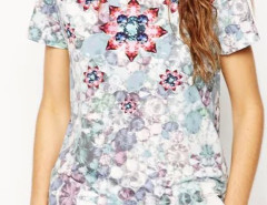 Multicolor Gemstone Pattern Short Sleeve T-shirt Choies.com bester Fashion-Online-Shop Großbritannien Europa
