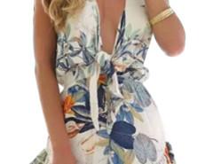 Multicolor V Front Leaf Print Cap Sleeve Romper Playsuit Choies.com bester Fashion-Online-Shop Großbritannien Europa