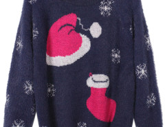 Navy Blue Christmas Hat and Snowflake Patterned Fluffy Sweater Choies.com bester Fashion-Online-Shop Großbritannien Europa