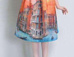 Orange Landscape Print Pleats Skirt Choies.com bester Fashion-Online-Shop Großbritannien Europa