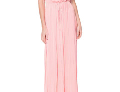 Pink Tied Waist Short Sleeve Pleat Maxi Dress Choies.com bester Fashion-Online-Shop Großbritannien Europa