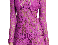 Purple Long Sleeve Semi-sheer Asymmetric Hem Lace Dress Choies.com bester Fashion-Online-Shop Großbritannien Europa