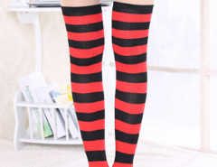 Red And Black Striped Over the Knee Socks Choies.com bester Fashion-Online-Shop Großbritannien Europa