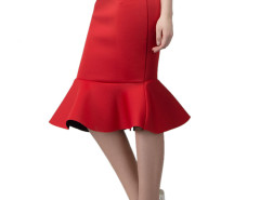 Red Midi Pencil Skirt With Flounce Hem Choies.com bester Fashion-Online-Shop Großbritannien Europa