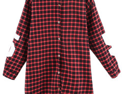 Red Plaid Boyfriend Shirt With 81 And Letter Print Choies.com bester Fashion-Online-Shop Großbritannien Europa