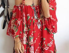 Red Spaghetti Strap Sakura Floral Print Blouse Choies.com bester Fashion-Online-Shop Großbritannien Europa