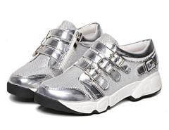 Silver Grid Detail Buckle Strap Flatform Sneakers Choies.com bester Fashion-Online-Shop Großbritannien Europa