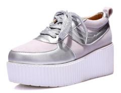 Silver Lace Up Contrast Flatform Sneakers Choies.com bester Fashion-Online-Shop Großbritannien Europa