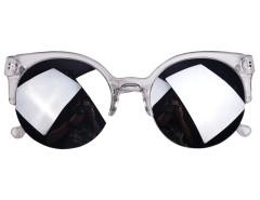 Silvery Half Frame Round Sunglasses with Mirror Lens Choies.com bester Fashion-Online-Shop Großbritannien Europa