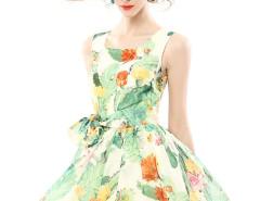 Tropical Print Pouf Dress with Tie Waist Choies.com bester Fashion-Online-Shop Großbritannien Europa