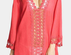 Watermelon Red Crochet V Neck  Semi-sheer Poncho Cover Up Blouse Choies.com bester Fashion-Online-Shop Großbritannien Europa