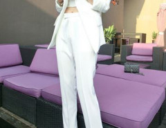 White Blazer And Slim Pants With Crop Vest Three-piece Suit Choies.com bester Fashion-Online-Shop Großbritannien Europa