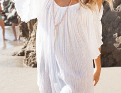 White Cold Shoulder Bell Sleeve Ruched Beach Dress Choies.com bester Fashion-Online-Shop Großbritannien Europa