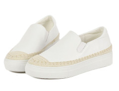 White Contrast PU Platform Slip-on Sneakers Choies.com bester Fashion-Online-Shop Großbritannien Europa