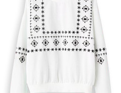 White Embroidery Long Sleeve Sweatshirt Choies.com bester Fashion-Online-Shop Großbritannien Europa