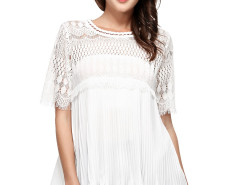White Eyelash Lace Panel Ruffle Pleat Blouse Choies.com bester Fashion-Online-Shop Großbritannien Europa