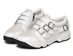 White Grid Detail Buckle Strap Flatform Sneakers Choies.com bester Fashion-Online-Shop Großbritannien Europa